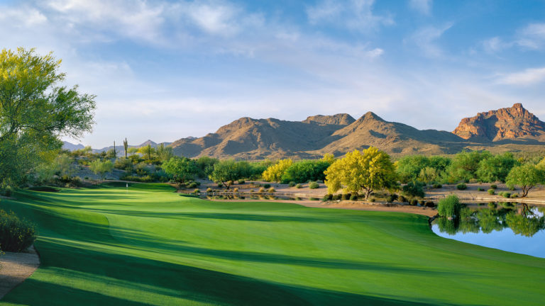 A beautiful, desert golf course in Fountain Hills, Arizona.