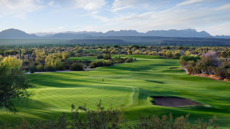 The 14th Hole of the Saguaro Course at We-Ko-Pa Golf Club in Fort McDowell, Arizona.